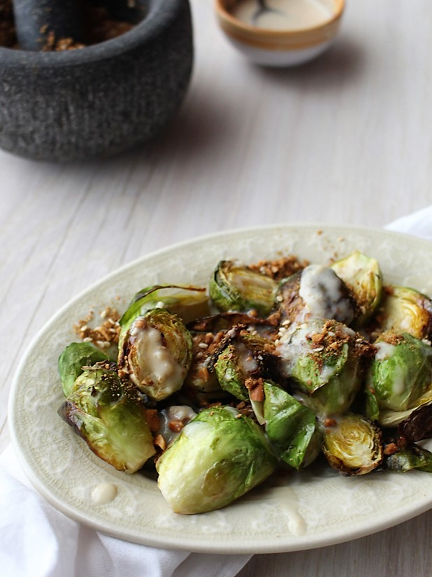 Roasted Brussels Sprouts with Garlic Infused Olive Oil Dressing & Dukkah