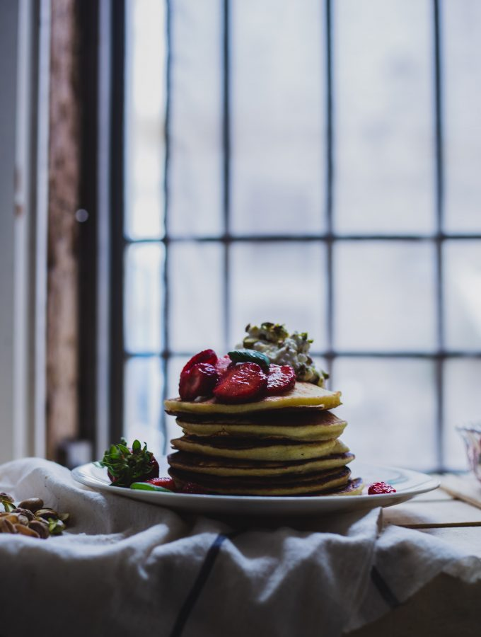 Ricotta Pancakes with Lemon, Pistachios and Strawberries